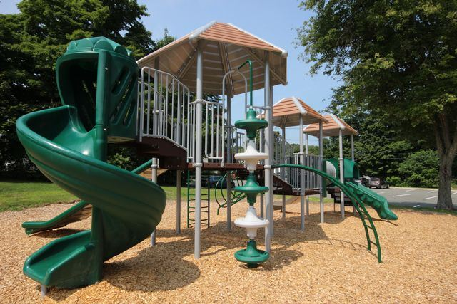 Up close image of jungle gym with slide