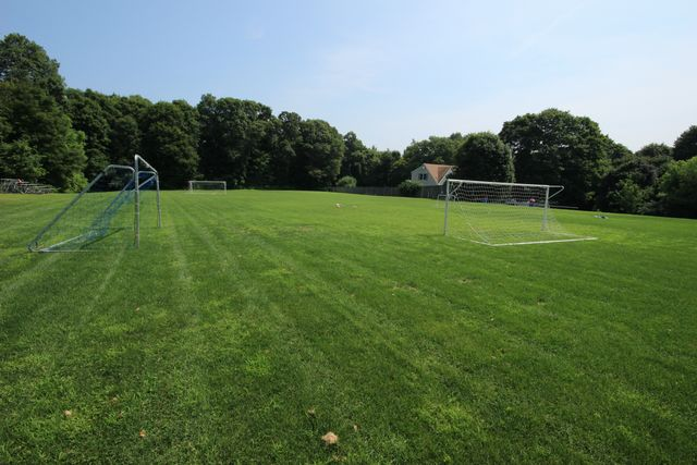 Side view of soccer field and soccer goal